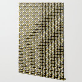 Yellow and Black Stained Glass Geometric Mosaic Wallpaper