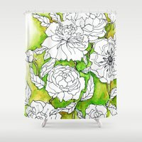 peonies Shower Curtains featuring Peonies by Dheiuk