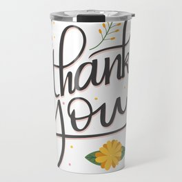 Thank you elegant lettering floral accents Travel Mug