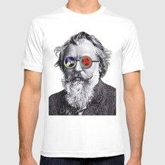 Brahms in Reel to Reel Glasses White Mens Fitted Tee MEDIUM