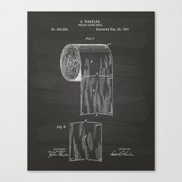 Toilet Paper Roll 1891 Patent Art Illustration Chalkboard Canvas Print