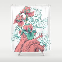 drawing Human heart with flowers Shower Curtain