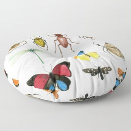 The Usual Suspects - insects on white Floor Pillow