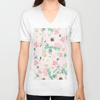 preppy V-neck T-shirts featuring Modern pastel floral handdrawn blush pink illustration by Girly Trend