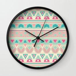 Ethnic , ornament , tribal , pastel Wall Clock
