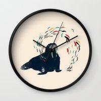 walrus Wall Clocks featuring Walrus. by Urška Hočevar