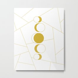 Golden moon phases Metal Print