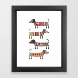 Sausage Dogs in Sweaters Framed Art Print