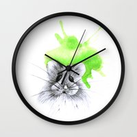 hamster Wall Clocks featuring green hamster by Konstantina Louka
