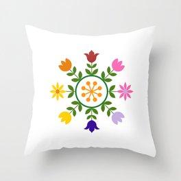 Scandinavian Style Colorful Flowers Wheel Throw Pillow