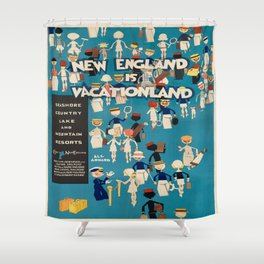 Vintage poster - New England Shower Curtain