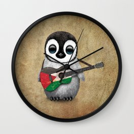 Baby Penguin Playing Palestinian Flag Acoustic Guitar Wall Clock