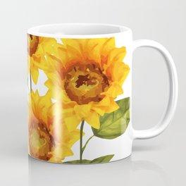 Design Five Sunflower on white Background Coffee Mug