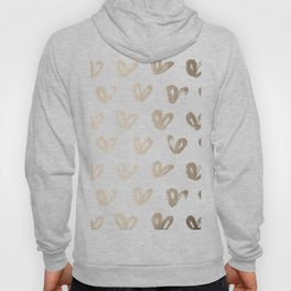 Luxe Gold Hearts on White Hoody