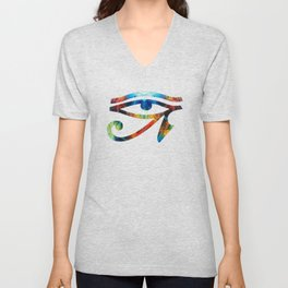 Eye of Horus - Art By Sharon Cummings Unisex V-Neck