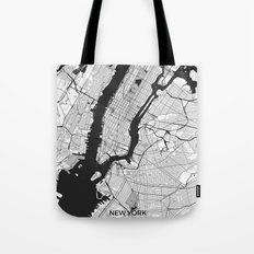 New York Map Gray Tote Bag