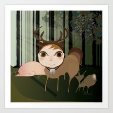 Deery Fairy in the Forest Art Print