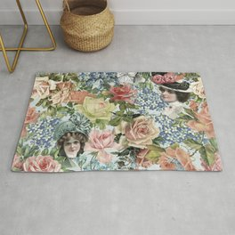Vintage & Shabby Chic - Vintage Botanical Flower Lady with Hut Pattern Rug