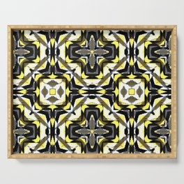 black yellow gray and white geometric Serving Tray