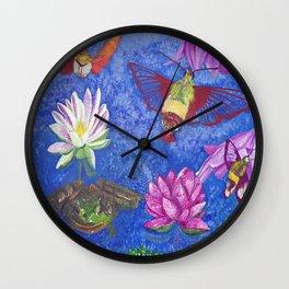 Hummingbird Moth and Frog Wall Clock