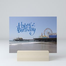 Happy Birthday Santa Monica Pier Mini Art Print