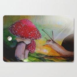 Snail and mushroom, watercolor Cutting Board