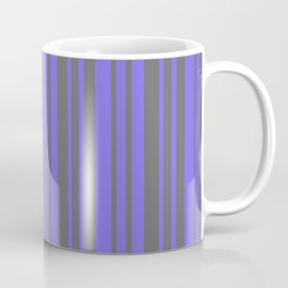 Dim Grey and Medium Slate Blue Colored Striped Pattern Coffee Mug