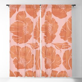 Poppies Coral Blackout Curtain