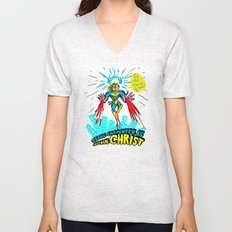 we need a hero to fight the evil Santa Claus Unisex V-Neck