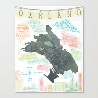 oakland Canvas Prints featuring Oakland Map by Mara Penny