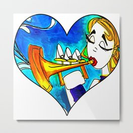 Lady on the trumpet Metal Print