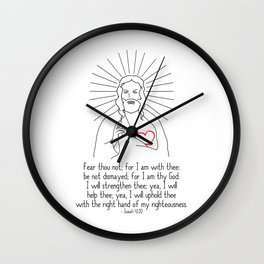 Fear Thou Not Be Strong Wall Clock