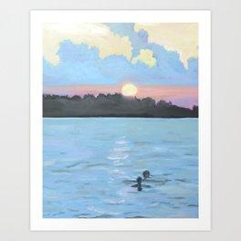 Sunset Swimming Art Print