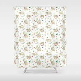 Modern green pink brown watercolor sloth floral pattern Shower Curtain
