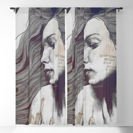 Monument: Red & Blue (sleeping beauty, woman with skyline tattoo and bird) Blackout Curtain