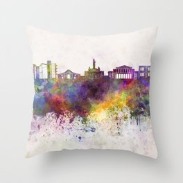Nicosia skyline in watercolor background Throw Pillow