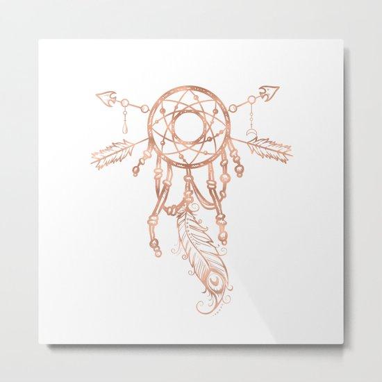 Mandala Rose Gold Pink Dreamcatcher Metal Print