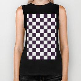 Checkered - White and Dark Purple Biker Tank