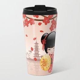 Japanese Red Sakura Kokeshi Doll Travel Mug
