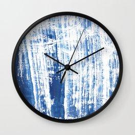 Steel blue streaked watercolor pattern Wall Clock
