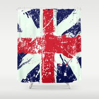 union jack Shower Curtains featuring Union Jack  by UrbanCandy
