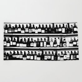 Wine Bottles in Black And White #society6 #decor Beach Towel