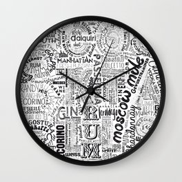 Drinks Full Tag Cloud Wall Clock
