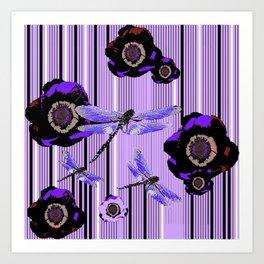 PURPLE DRAGONFLIES & BLACK POPPY FLOWERS ART Art Print