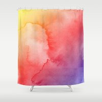 gradient Shower Curtains featuring Watercolor Gradient by Andre D