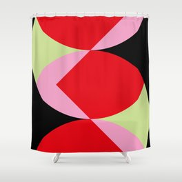 Snake Shaped Window in a black wall. Red and pink acorns in the background, on a soft green grass. Shower Curtain