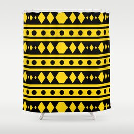 Tribal Yellow Pattern Shower Curtain