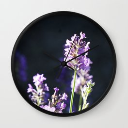 Evening Lavender Blooms Wall Clock