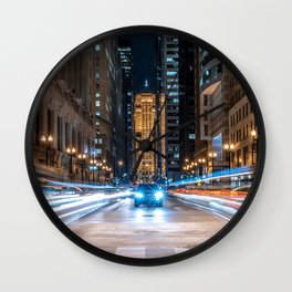 The Chicago Board of Trade at Night Wall Clock