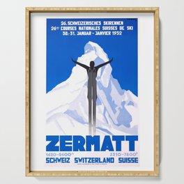 1931 Zermatt Switzerland Ski Travel Poster Serving Tray